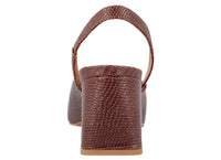 Lisa Brown Lizard Embossed Leather