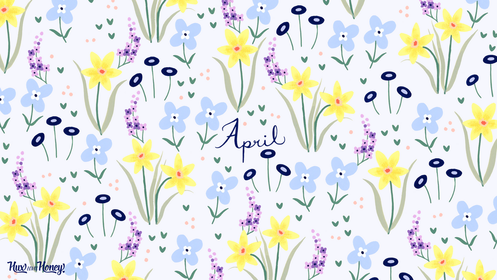 April Desktop Wallpaper with daffodil and lilac pattern
