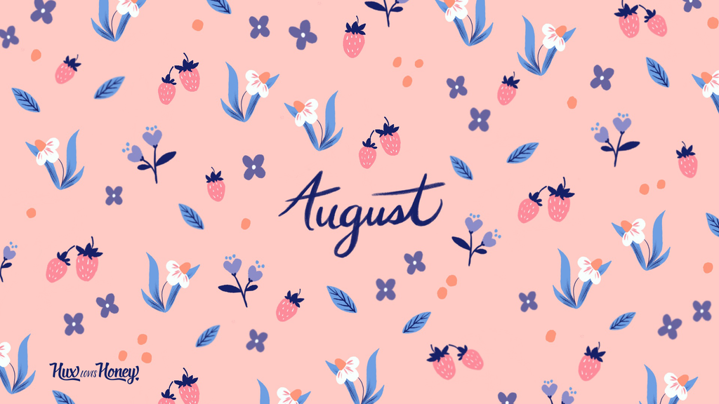 August Desktop Wallpaper pattern with flowers and pink strawberries