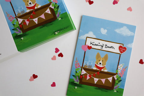 Corgi Kissing Booth greeting cards