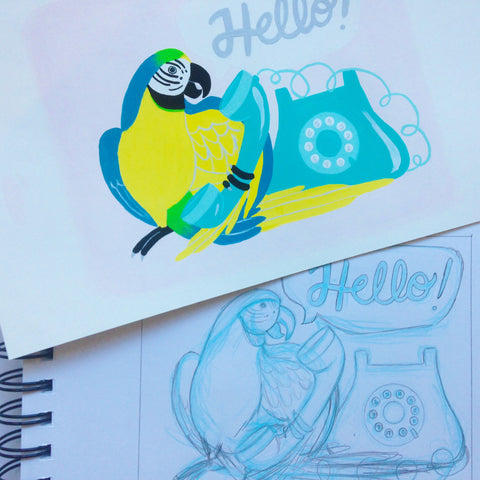 Hello Parrot sketch and finished painting