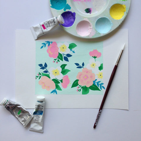 Mint Green Floral Painting