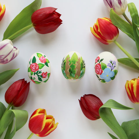 Hand Painted Easter Eggs with tulips
