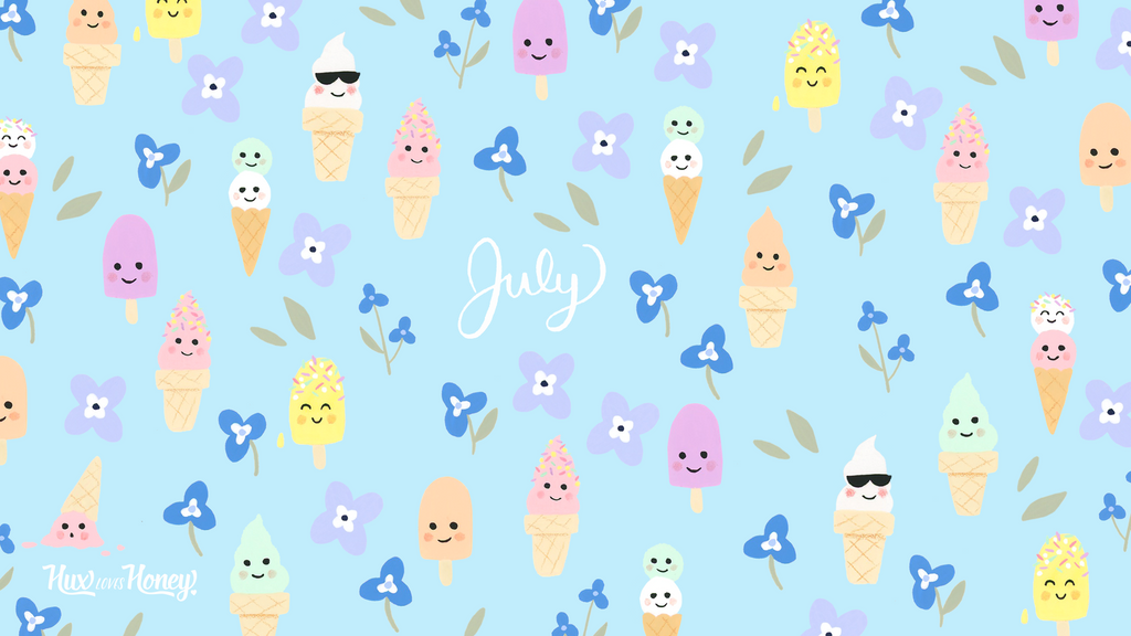 July Desktop Wallpaper with cute pastel coloured ice creams and flowers