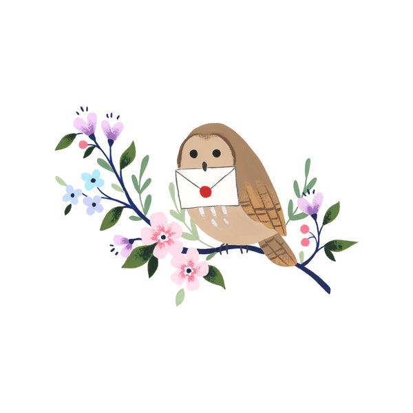 Illustration of an owl holding a letter, sitting on a floral branch