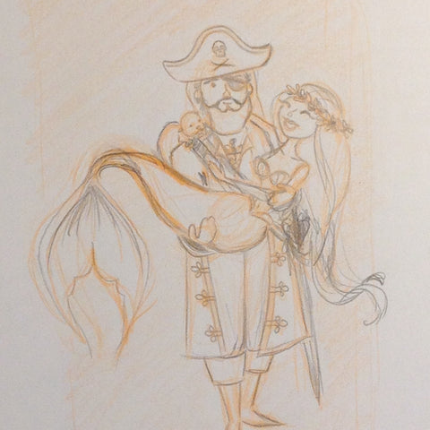 Pirate and Mermaid sketch
