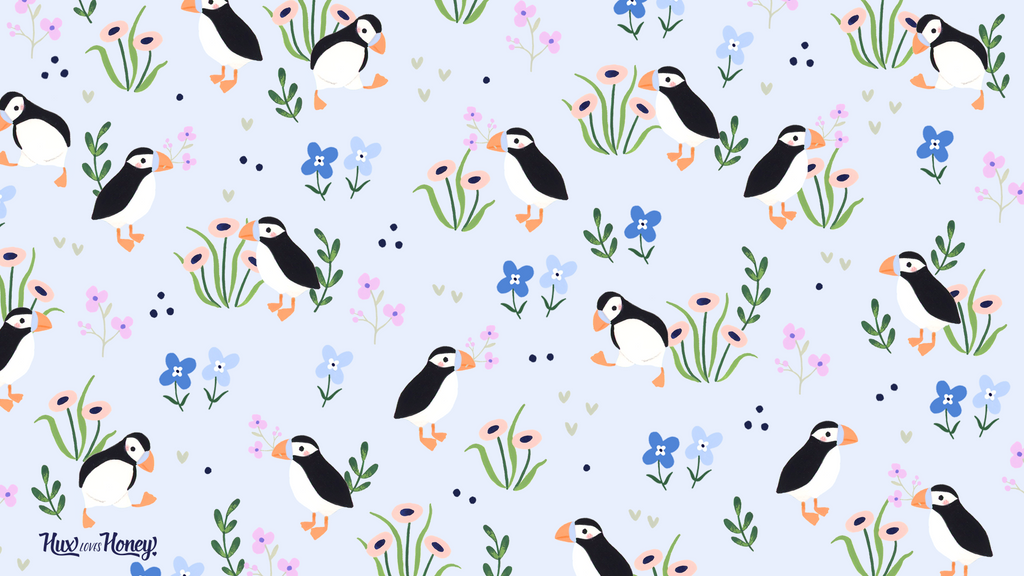 Hand-illustrated desktop wallpaper with puffins and flowers