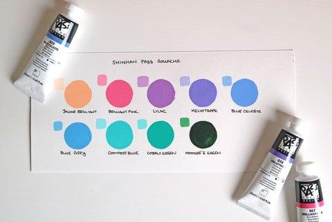 Shinhan gouache swatches