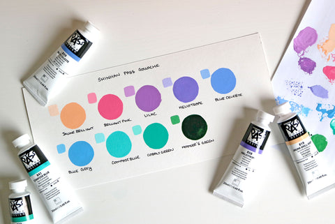 Shinhan gouache swatches with paint tubes