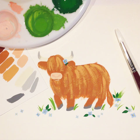 Little Highland Coo painting with blue flowers