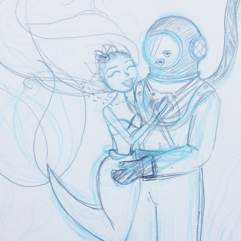 Mermaid and Deep Sea Diver sketch