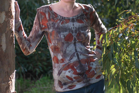 Eco-printed Merino Wool Top (Size 16)