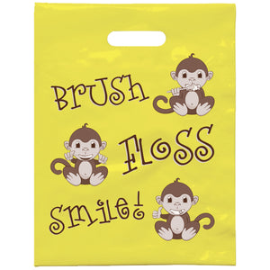Brush Floss Smile Monkey Patient Care Bags