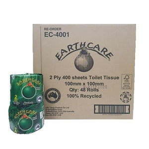 Earthcare Toilet Paper Tissue 2ply 48 Rolls X 400 Sheets 100% Recycled