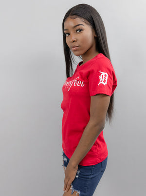 Women's Red Graphic #giveme313feet T Shirt