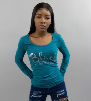 Women's Fitted White Long Sleeve Teal Shirt - Black Beautiful & Brilliant