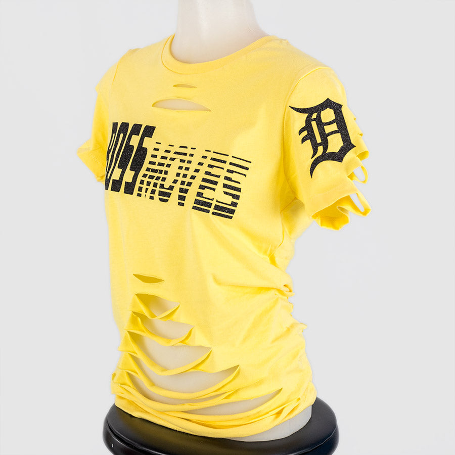 Boss Moves Distressed Yellow Glitter T-Shirt