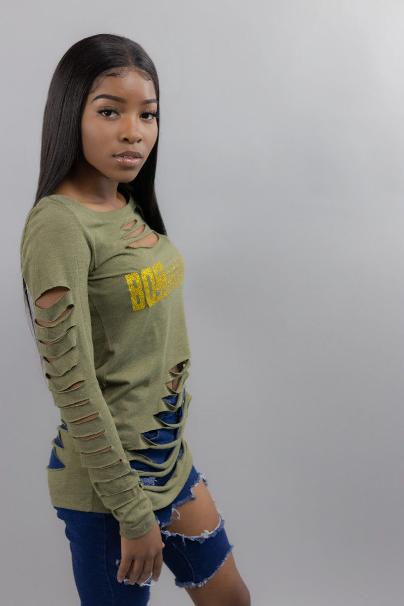 Women's Distressed Army Green Long Sleeve Boss Moves Shirt