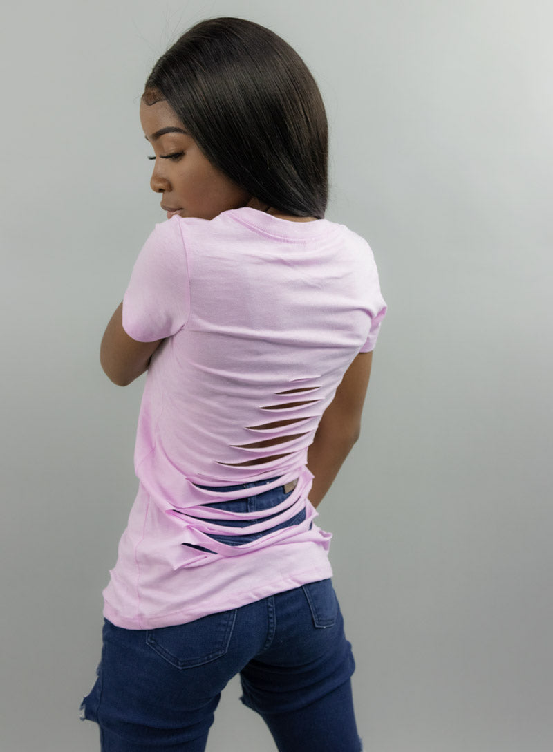 Women's Distressed V-Neck T-Shirt - Lavender