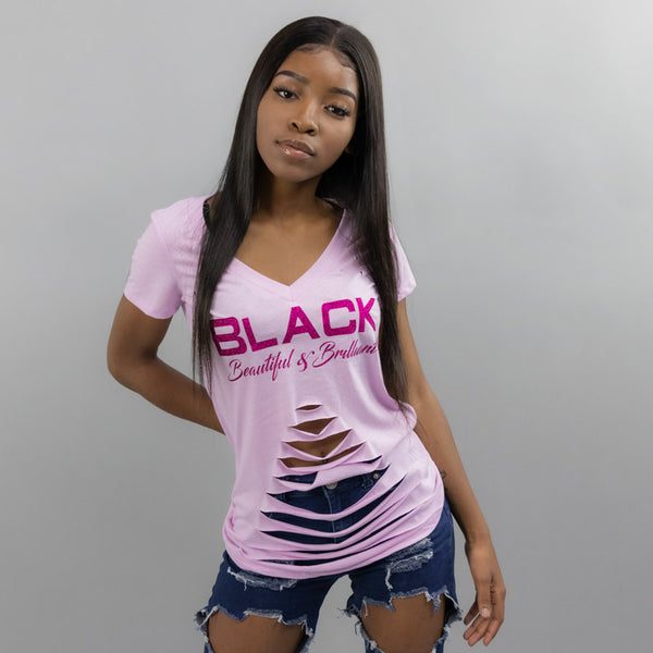 Black Beautiful & Brilliant Women's Distressed Graphic T-Shirt