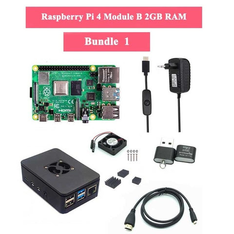 Raspberry Pi 4 Model B 1/2/4GB RAM + Case + Fan + Heat Sink + Power Adapter + 32/64 GB SD Card + HDMI Cable for RPI 4B