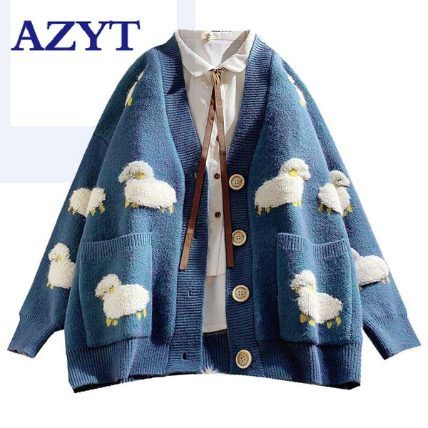 2020 Autumn New Knit Female Cardigan Loose Streetwear Knit Sweater Coat Cute Cartoon Print V Neck knitted cardigan Women Jacket