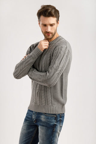 Finn flare men's knitted jumper in dark blue of 100% acrylic, collection зима-2019