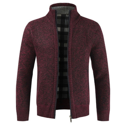 Cardigan Male Casual Slim Full Zip Thick Knitted Men's Sweaters With Pockets Autumn Fashion Thick Slim Keep Warm Men's Cardigan