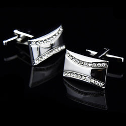 Bridegroom Wedding Party Business Men French Shirts Cuff Links White Crystal Zircon Cufflinks Silvery Cufflink With Gift Bag