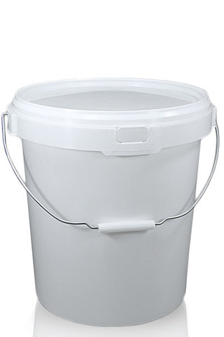 21 Litre White Plastic Wash Bucket, Metal Handle and Lid Single and Double