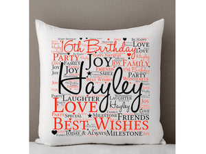 16th Birthday Word Art Personalised Cushion