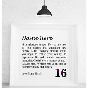 16th Birthday Framed Personalised Poem - Pure Essence Greetings