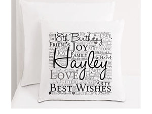 18th Birthday Word Art Personalised Cushion