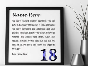 Personalised 18th Birthday Poem - Pure Essence Greetings