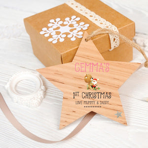 Personalised 1st Christmas Star Decoration - PureEssenceGreetings
