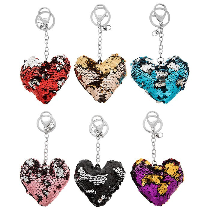 16th Birthday Two Tone Sequin Heart Charm Personalised Keyring
