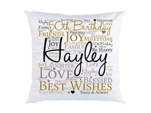 50th Birthday Personalised Cushion