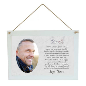 Brother Memorial Personalised Hanging Plaque PureEssenceGreetings