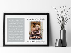 Copy of On Our Anniversary Personalised Photo Framed Poem PureEssenceGreetings