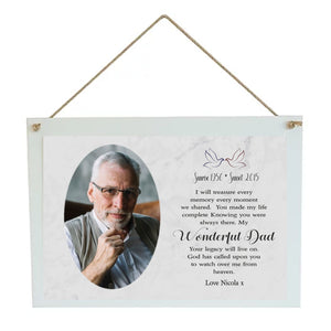 Dad Memorial Personalised Hanging Plaque PureEssenceGreetings