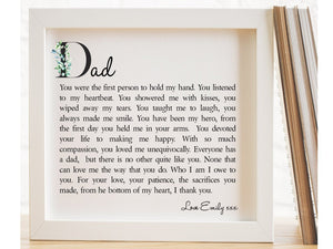 Dad Personalised Box Framed Poem PureEssenceGreetings