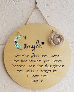 Daughter Personalised Round Plaque PureEssenceGreetings