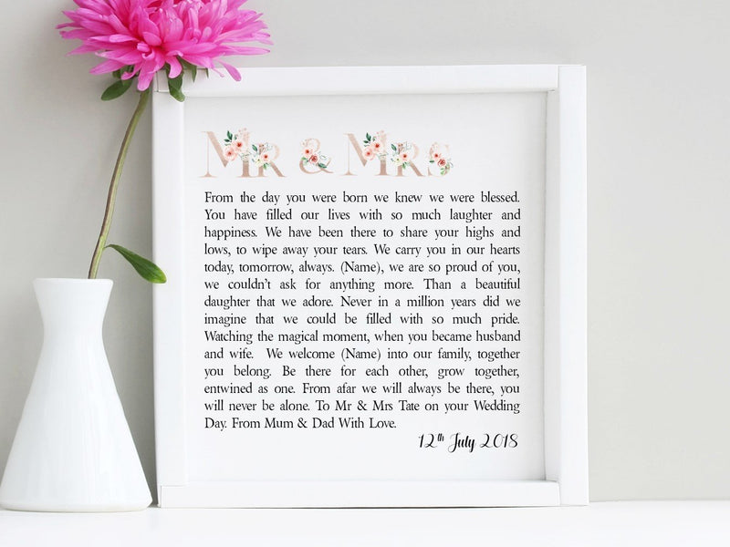 Daughter & Son in Law Mrs and Mrs Framed Wedding Poem PureEssenceGreetings