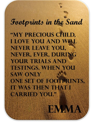 Personalised Footprints Wallet Card. - PureEssenceGreetings