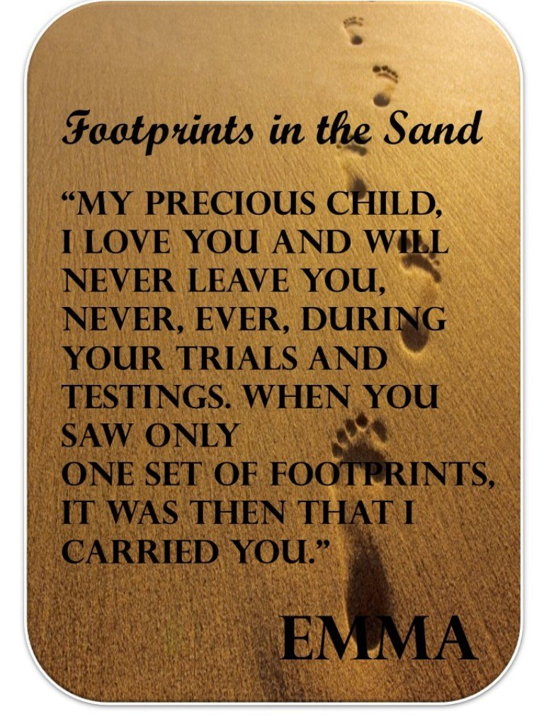Personalised Footprints Wallet Card.