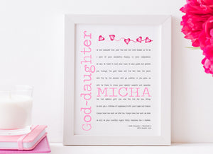 God-daughter Personalised Framed Christening Poem - PureEssenceGreetings