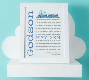 Godson Personalised Framed Christening Poem - PureEssenceGreetings