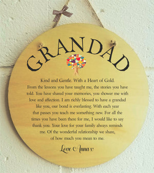 Grandad Personalised Plaque PureEssenceGreetings