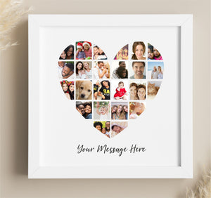 Heart Photo Collage Personalised Framed Print | 25 Images PureEssenceGreetings