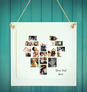 Heart Photo Collage Personalised Plaque | 18 Images PureEssenceGreetings